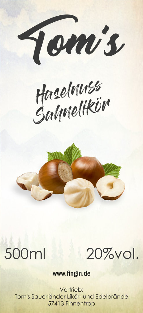 Tom´s Haselnuss Sahnelikör 0,5 Liter 20%vol.